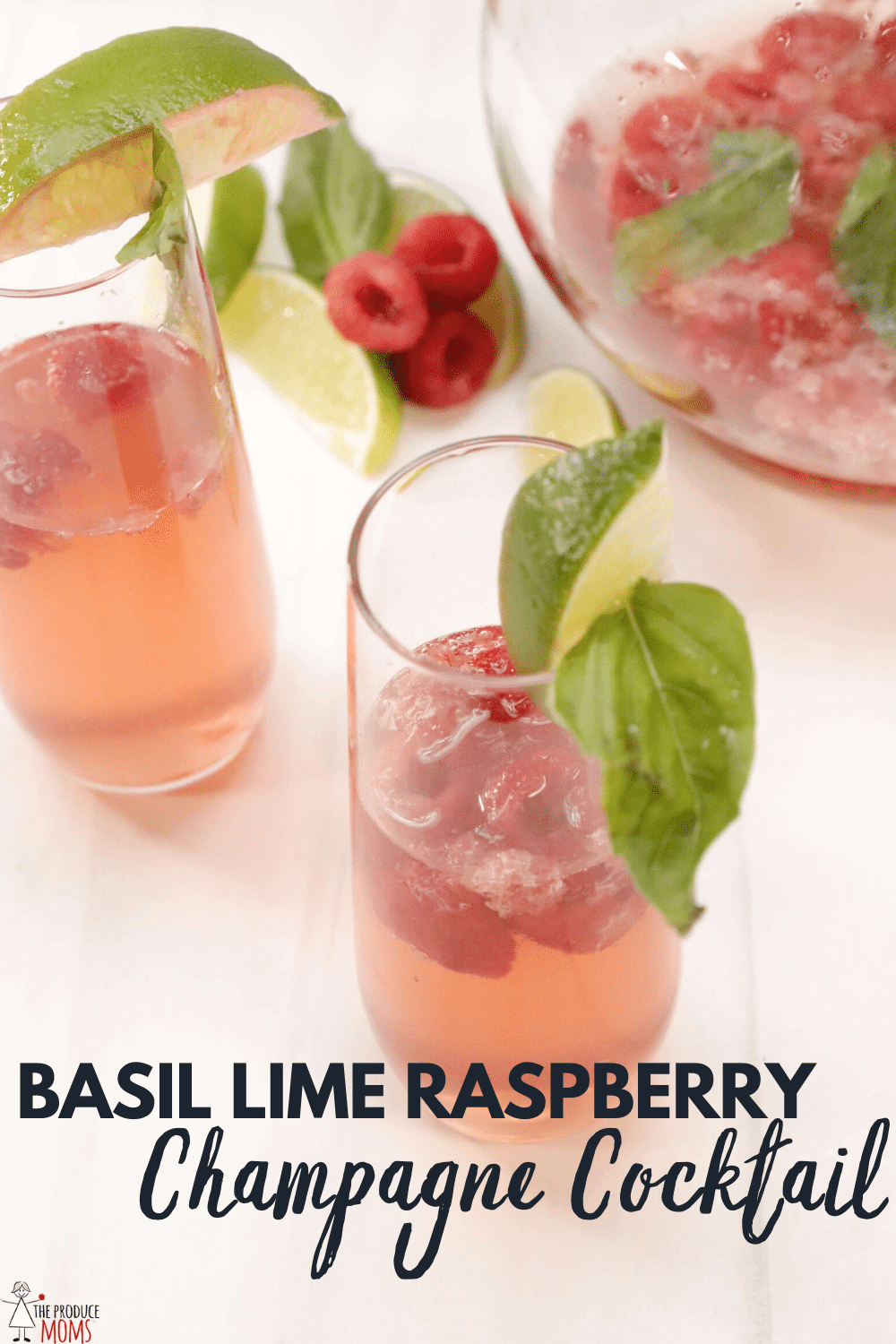 Basil Lime Raspberry Champagne Cocktail