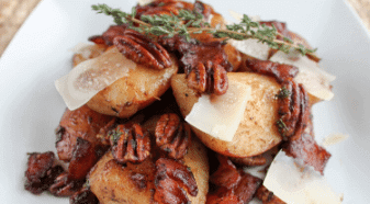Savory Bosc Pear Salad with Bacon & Toasted Pecans