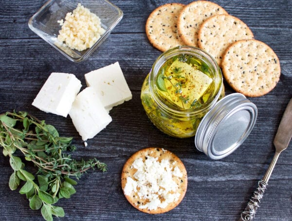 Marinated Feta Cheese with Herbs and Garlic