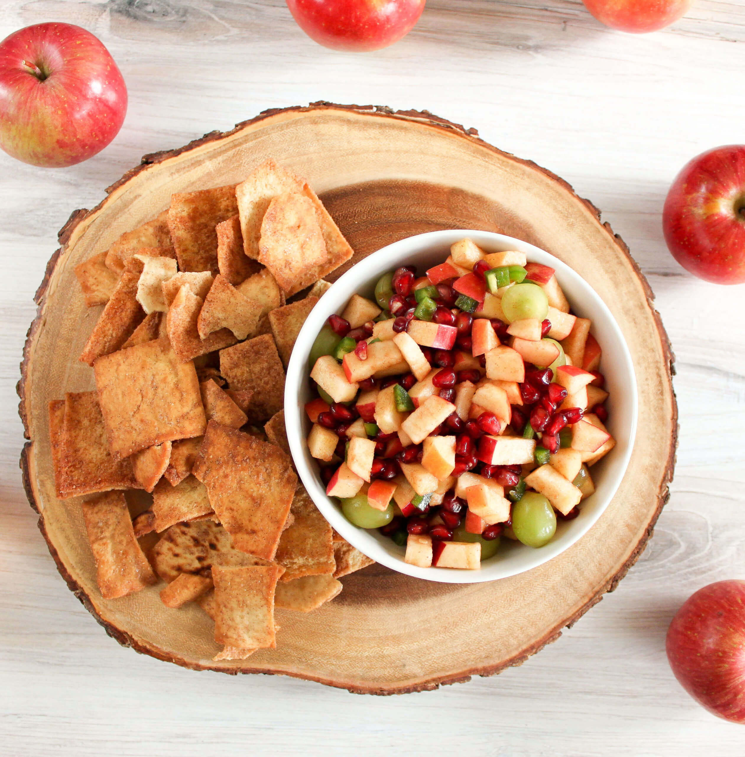 apple salsa with side of pita chips