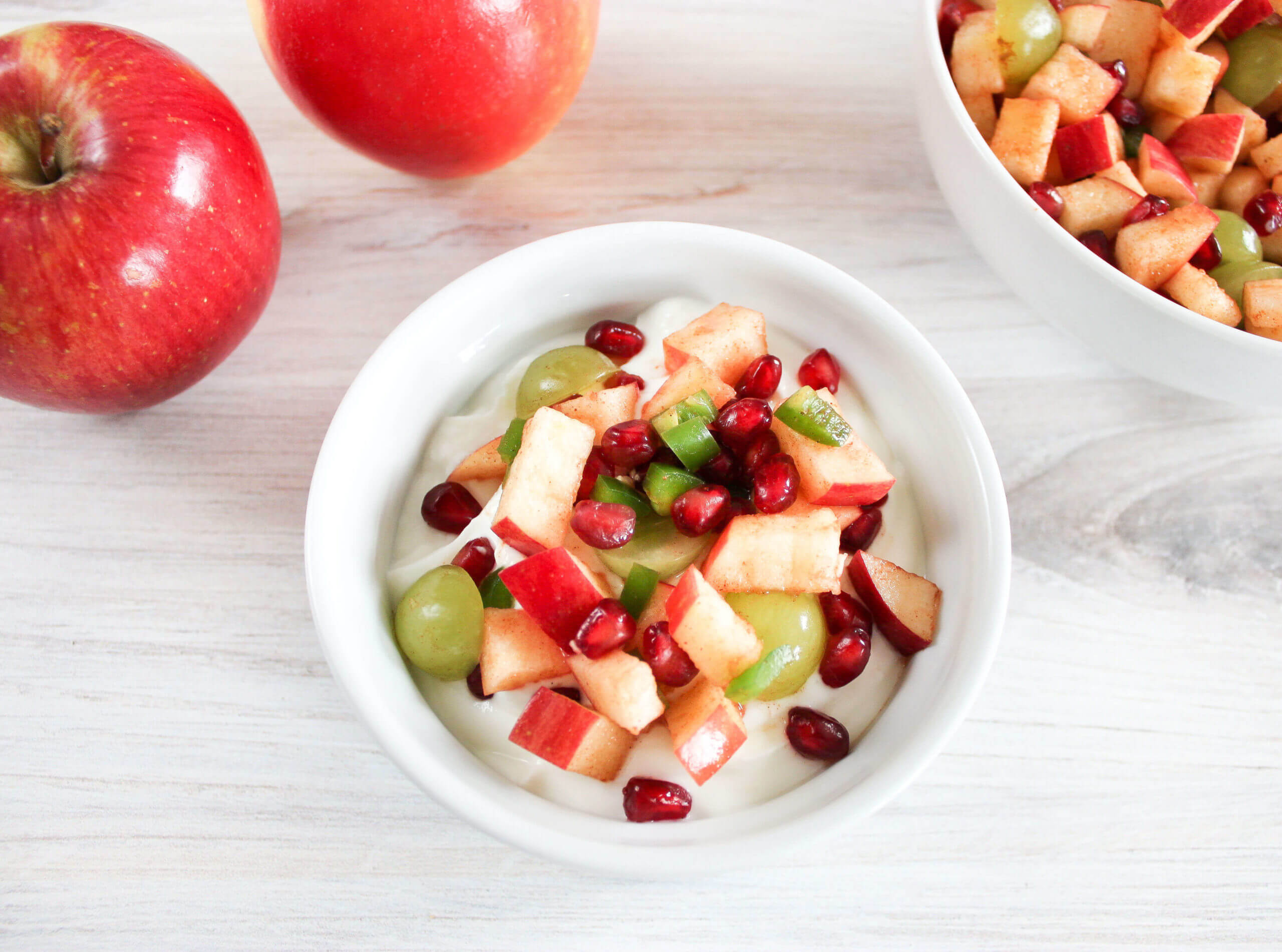 bowl of apple salsa in yogurt