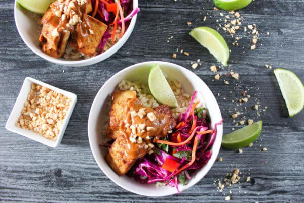 Veggie Tofu Bowls With Peanut Sauce