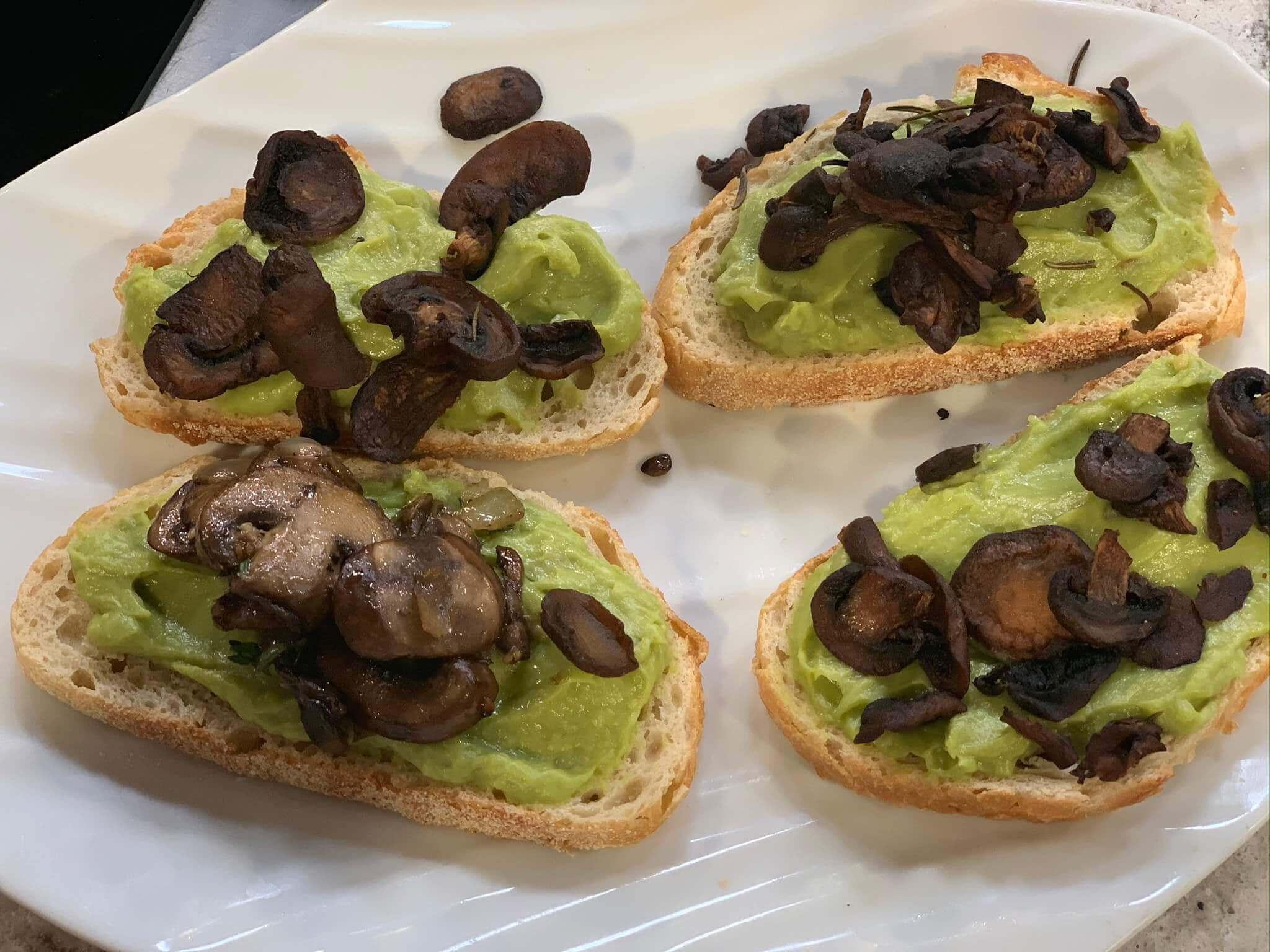 Mushroom Chips on Avocado Toast