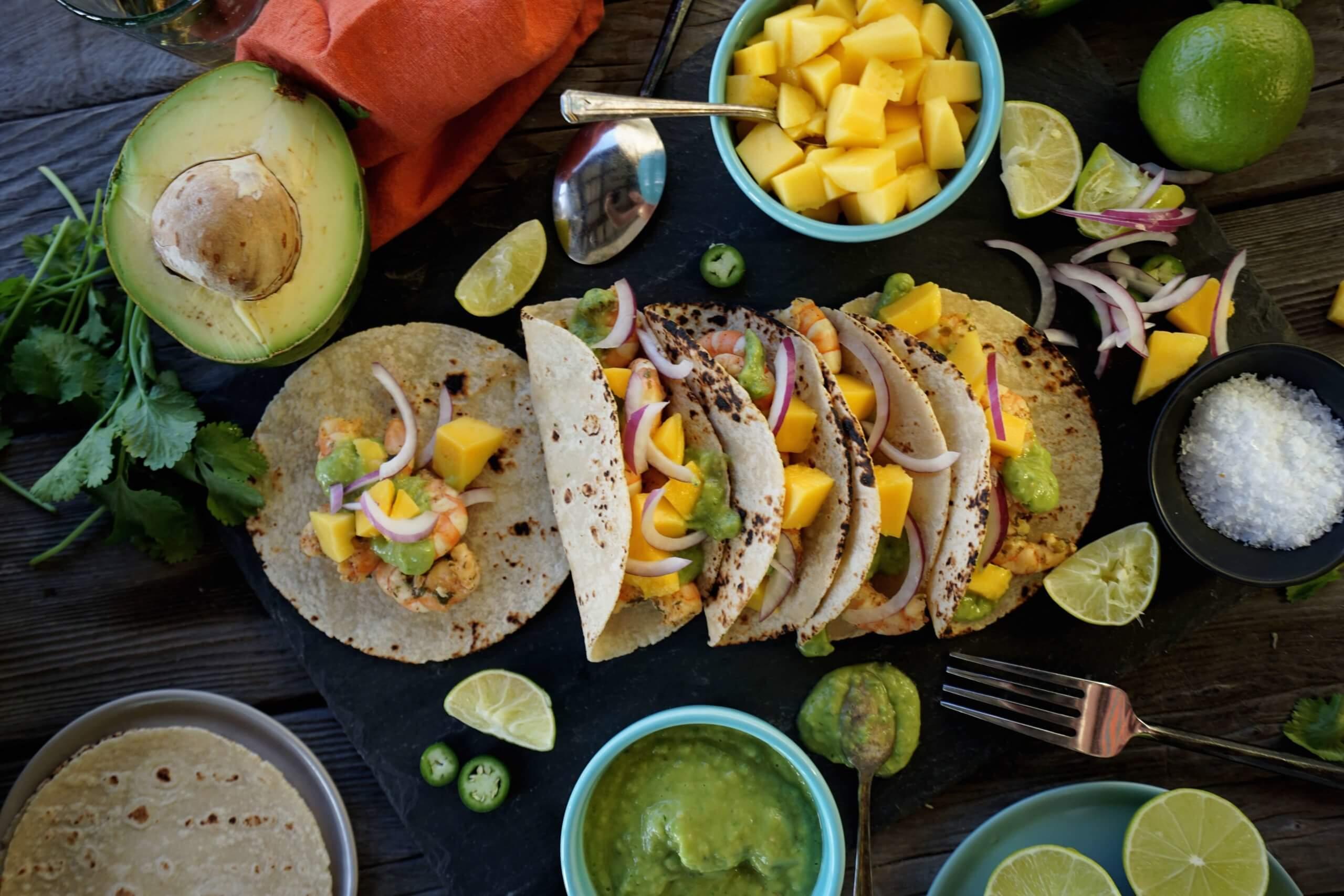 Shrimp Tacos with Tropical Avocado Salsa Verde