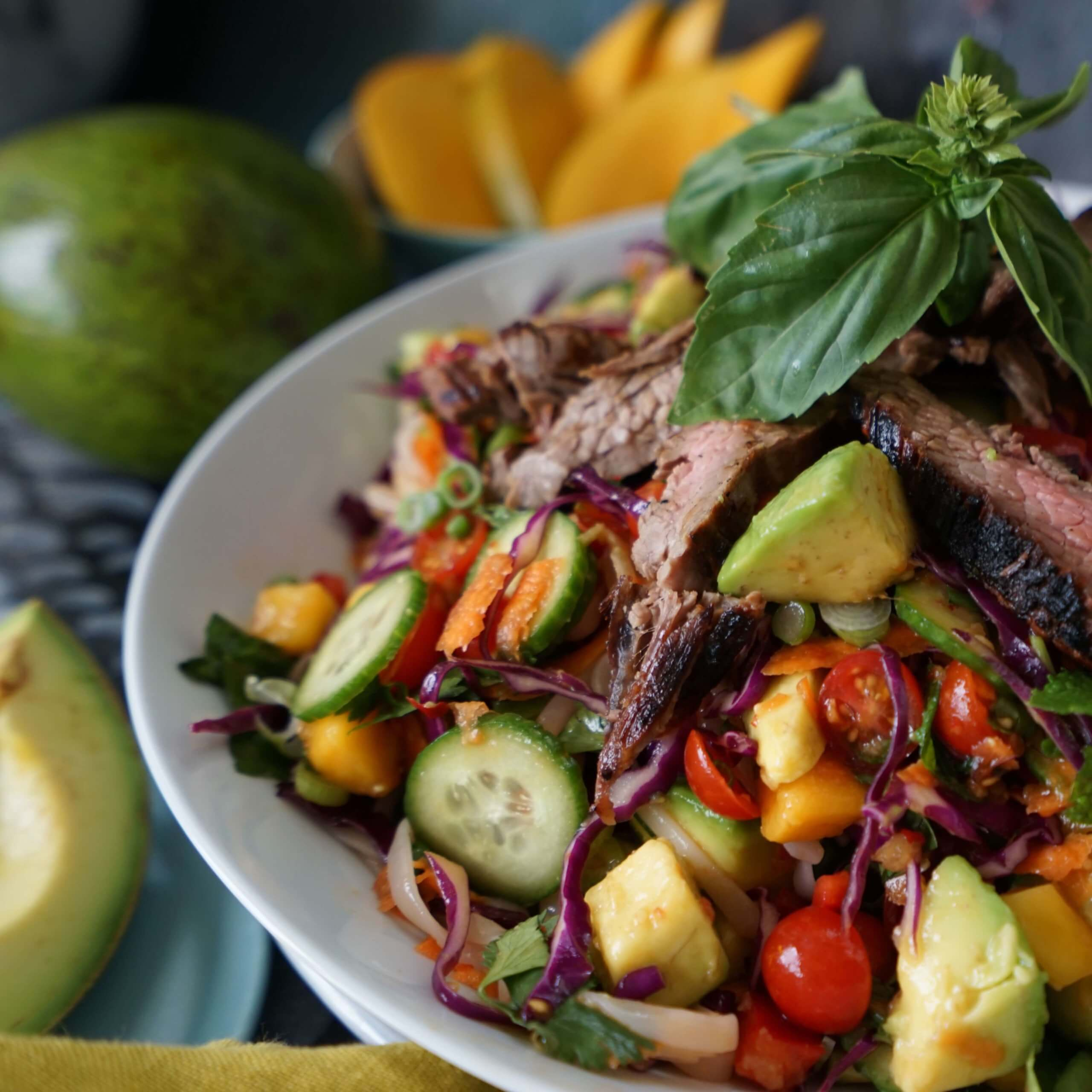 Thai Steak Noodle Salad with Tropical Avocado