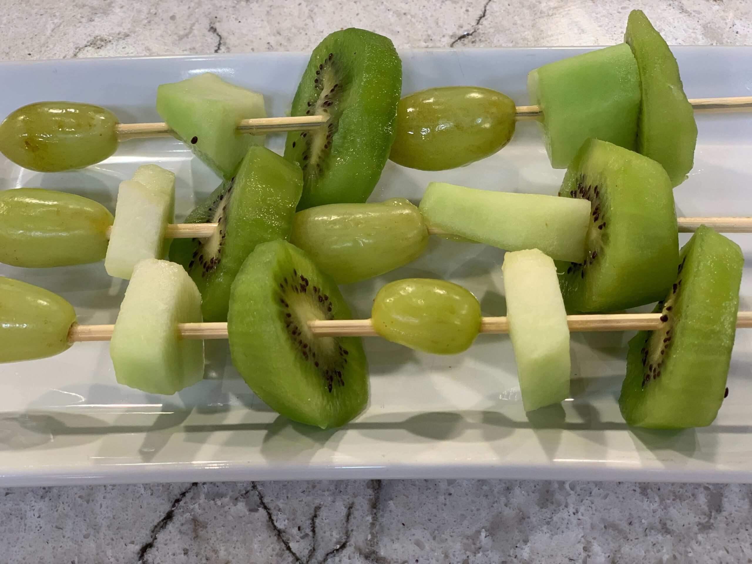 Shamrock Kabobs using Green Fruits