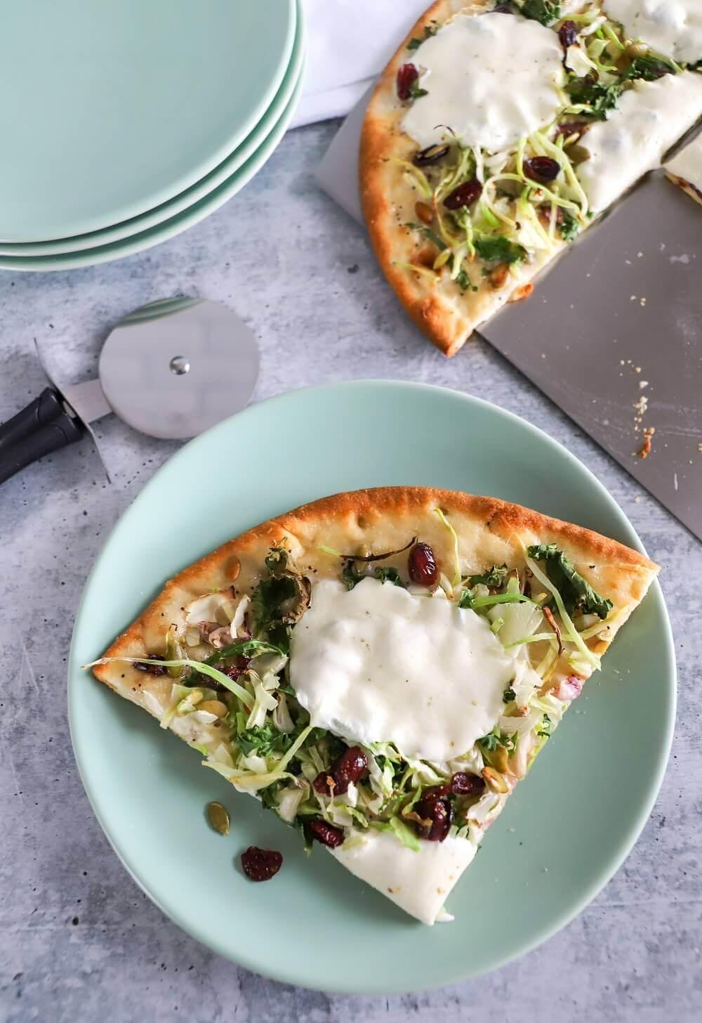 Sweet Kale Flatbread Pizza Serving