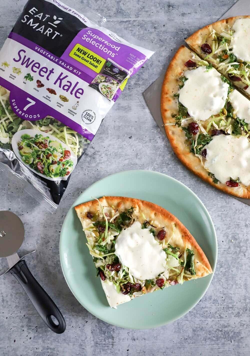 Sweet Kale Flatbread Pizza and Salad