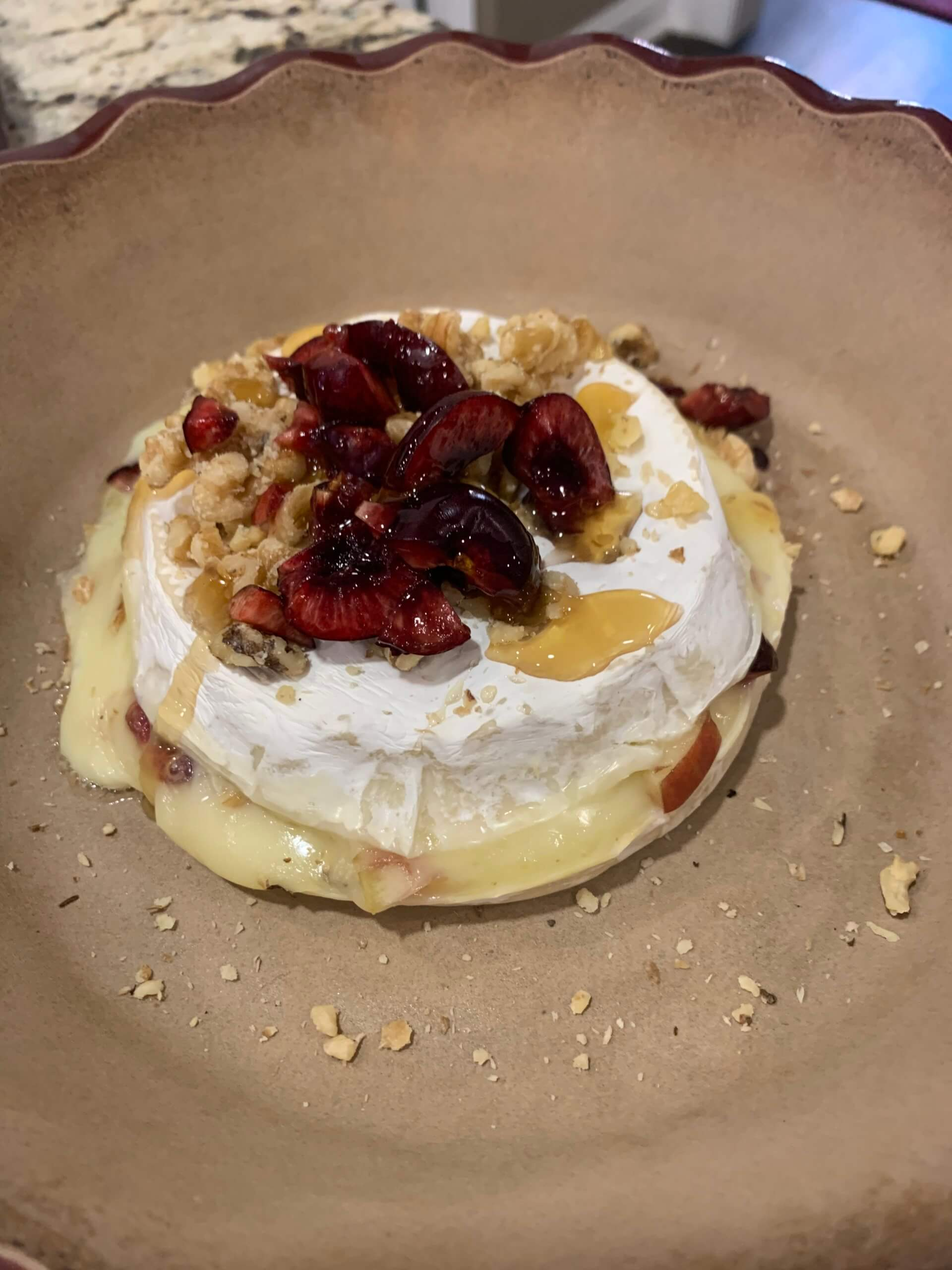Baked Brie with Cherries and Apples