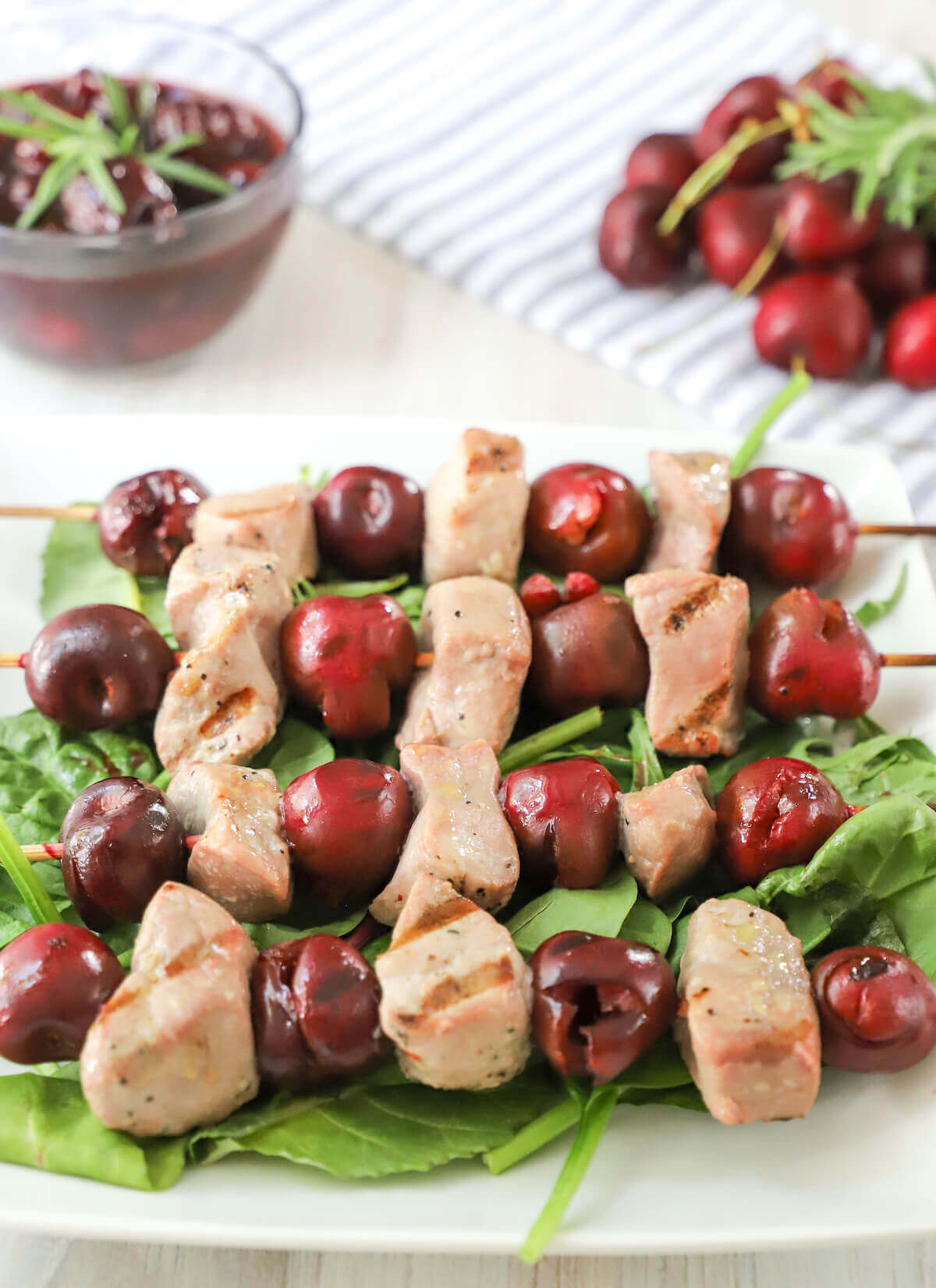 cherry and pork skewers
