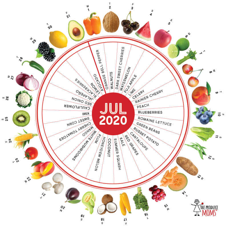 July 2020 Produce Challenge Calendar