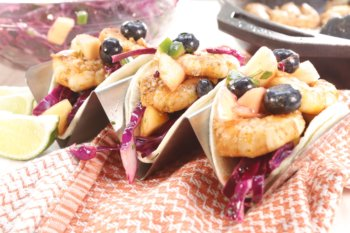 Shrimp Tacos with Blueberry Mango Slaw