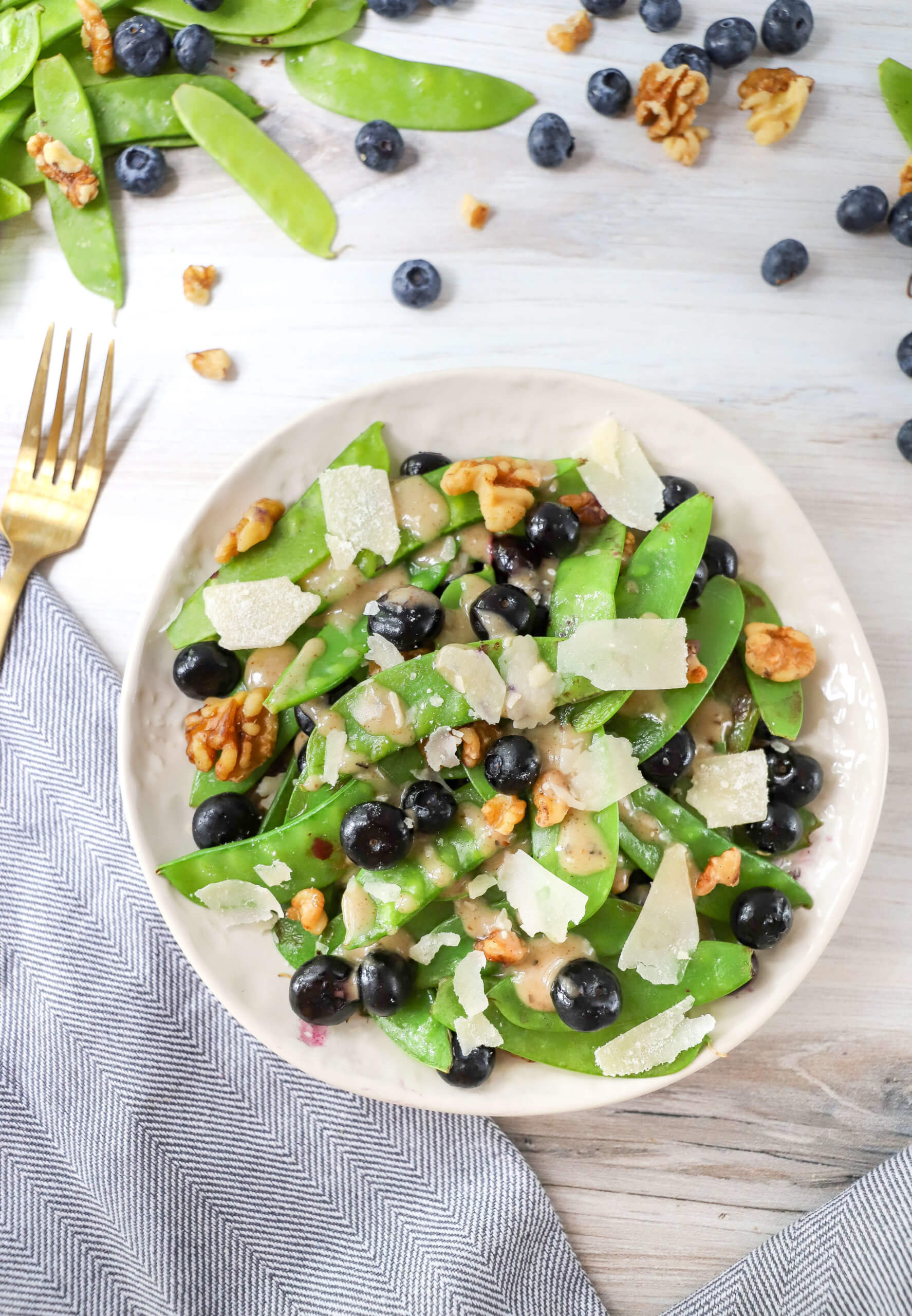 Warm Blueberry and Snow Pea Salad