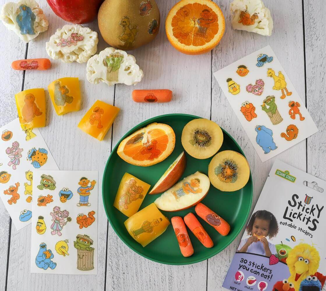 Put Sesame Street StickyLickits on your favorite produce