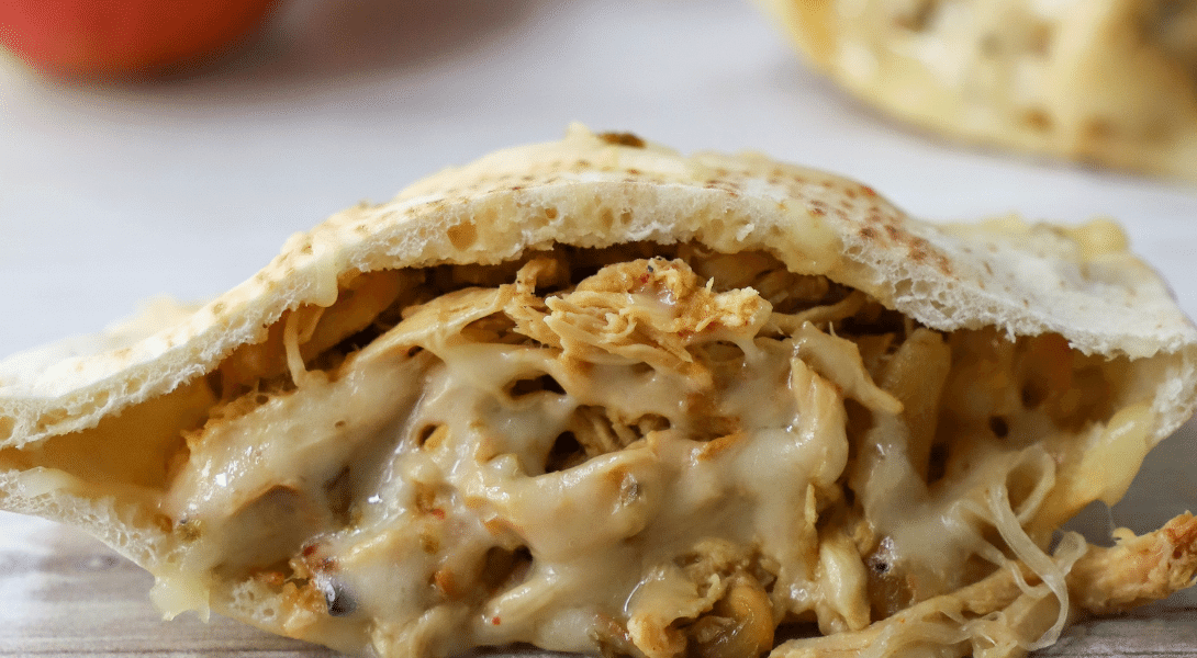 Crockpot Apple and Pulled Chicken Pita Sandwiches