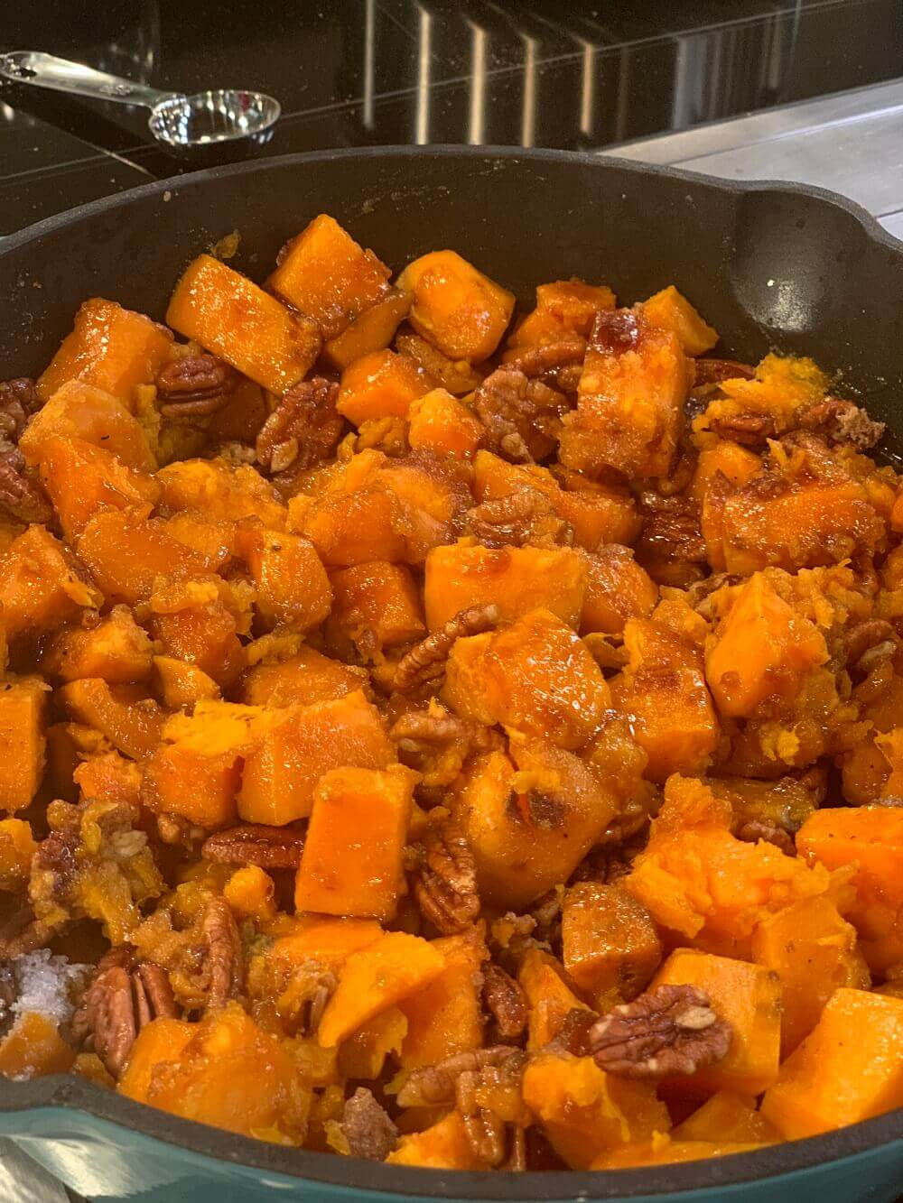 Skillet Sweet Potatoes for a Thanksgiving with fruits and vegetables.