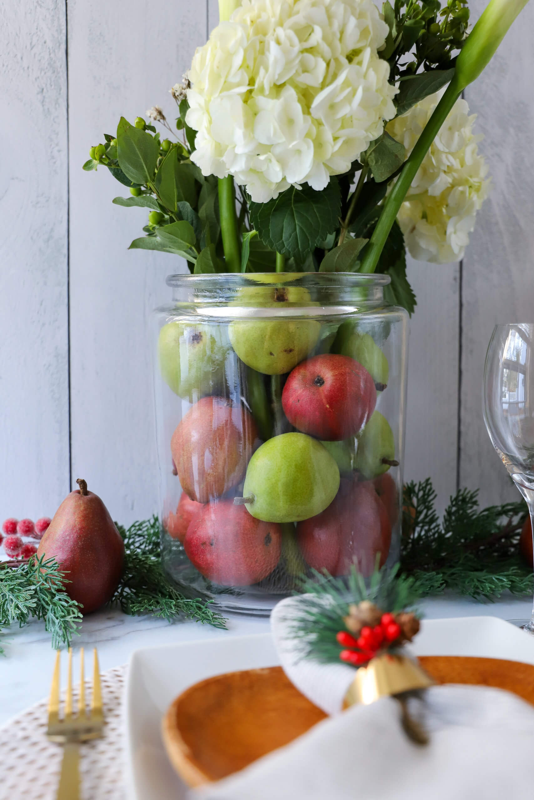 Green and Red Anjou Pears Tablescapes