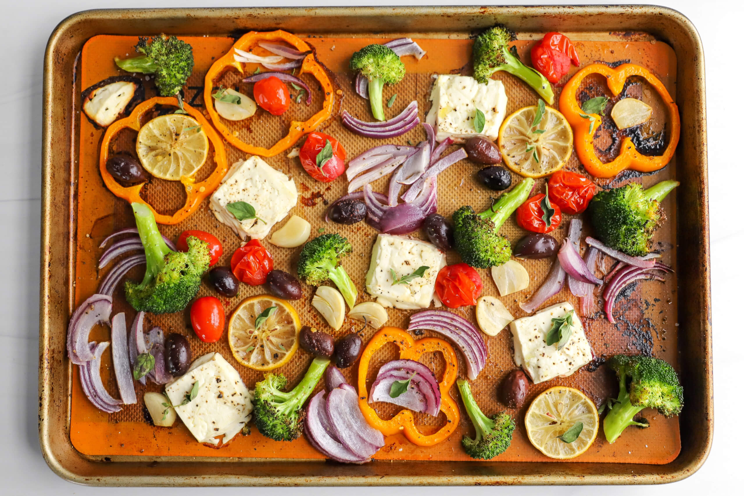 Sheet Pan Baked Feta with Greek Veggies