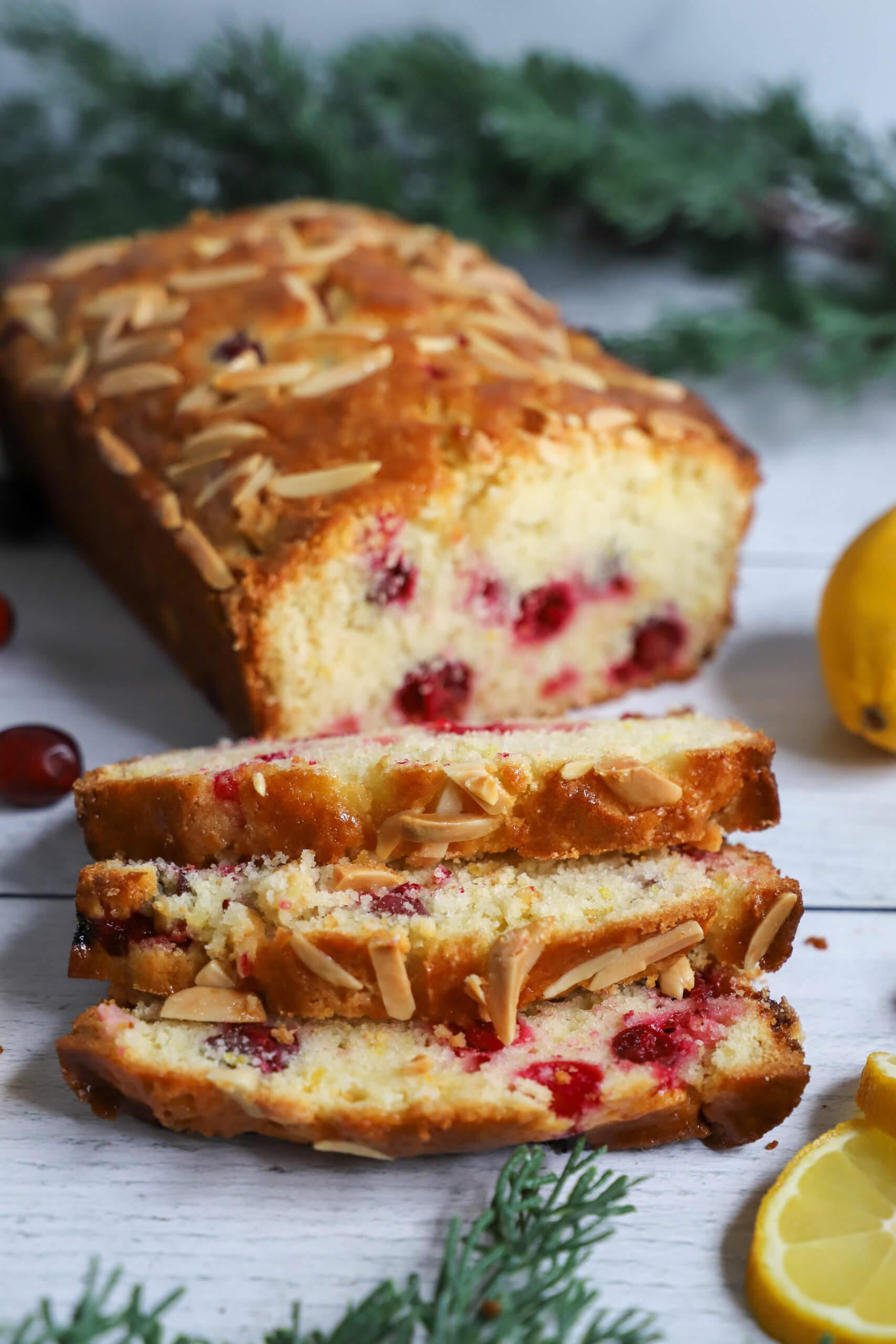 Lemon Cranberry Bread with Almonds