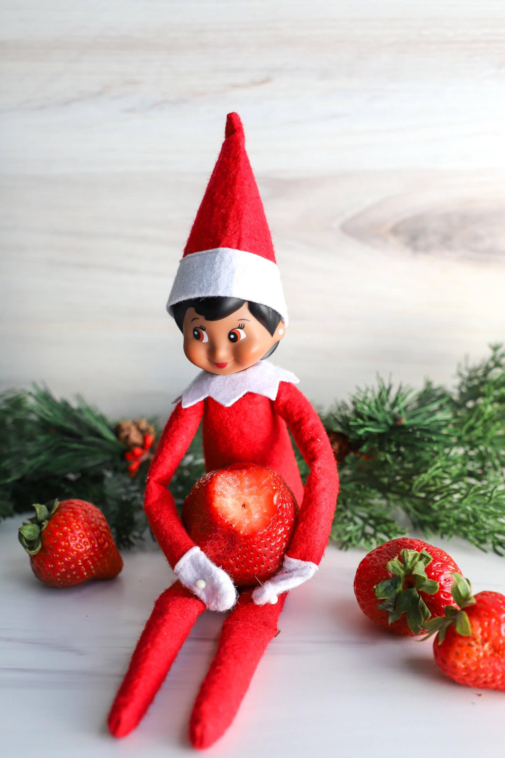Easy Elf on the Shelf Idea: Eating strawberries