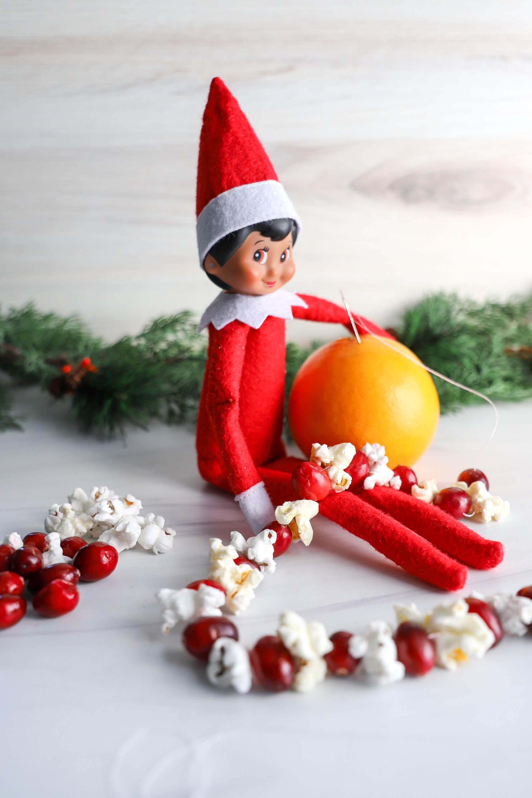 Easy Elf on the Shelf Ideas: Stringing Garland