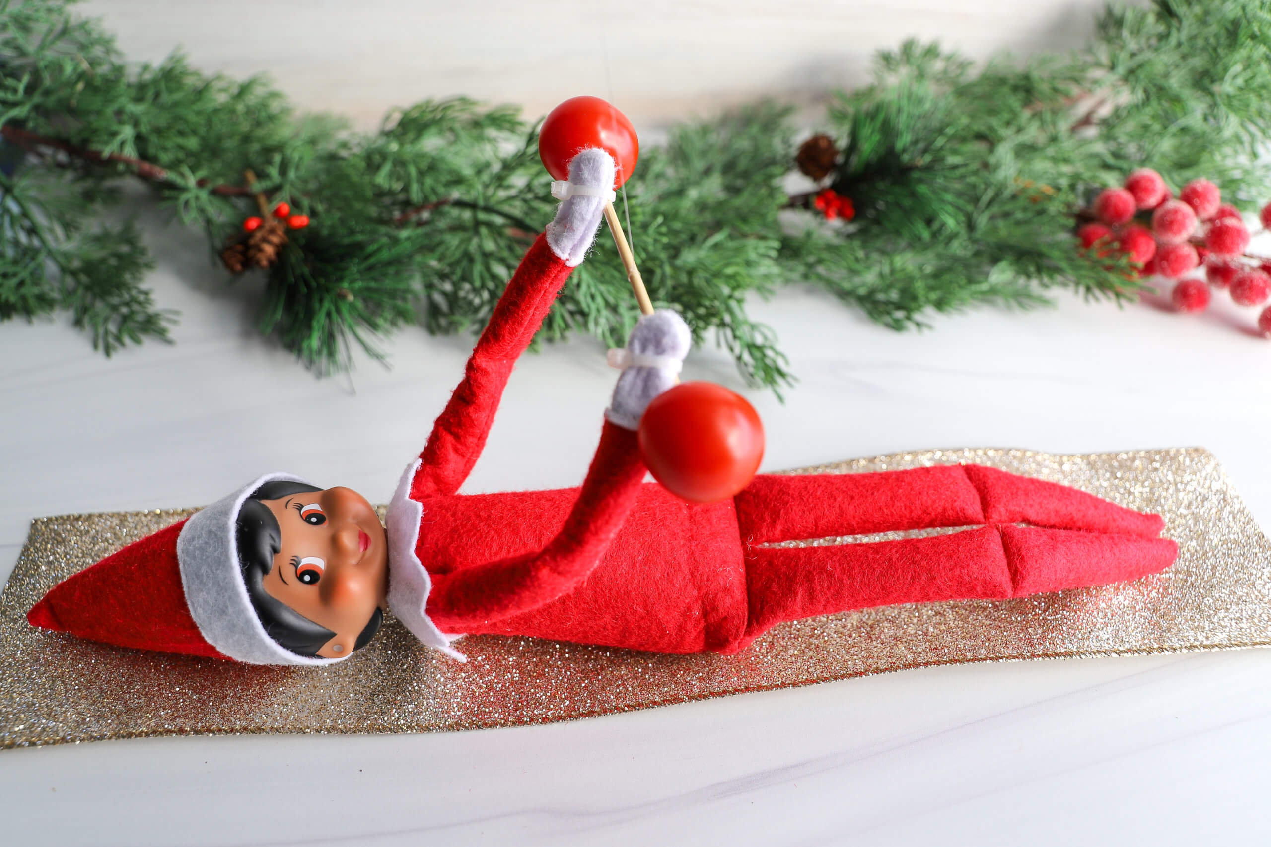 Easy Elf on the Shelf Ideas: Lifting Weights