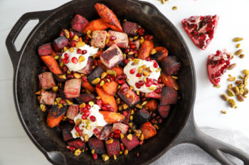 Pomegranate-Glazed Root Vegetables with Whipped Goat Cheese