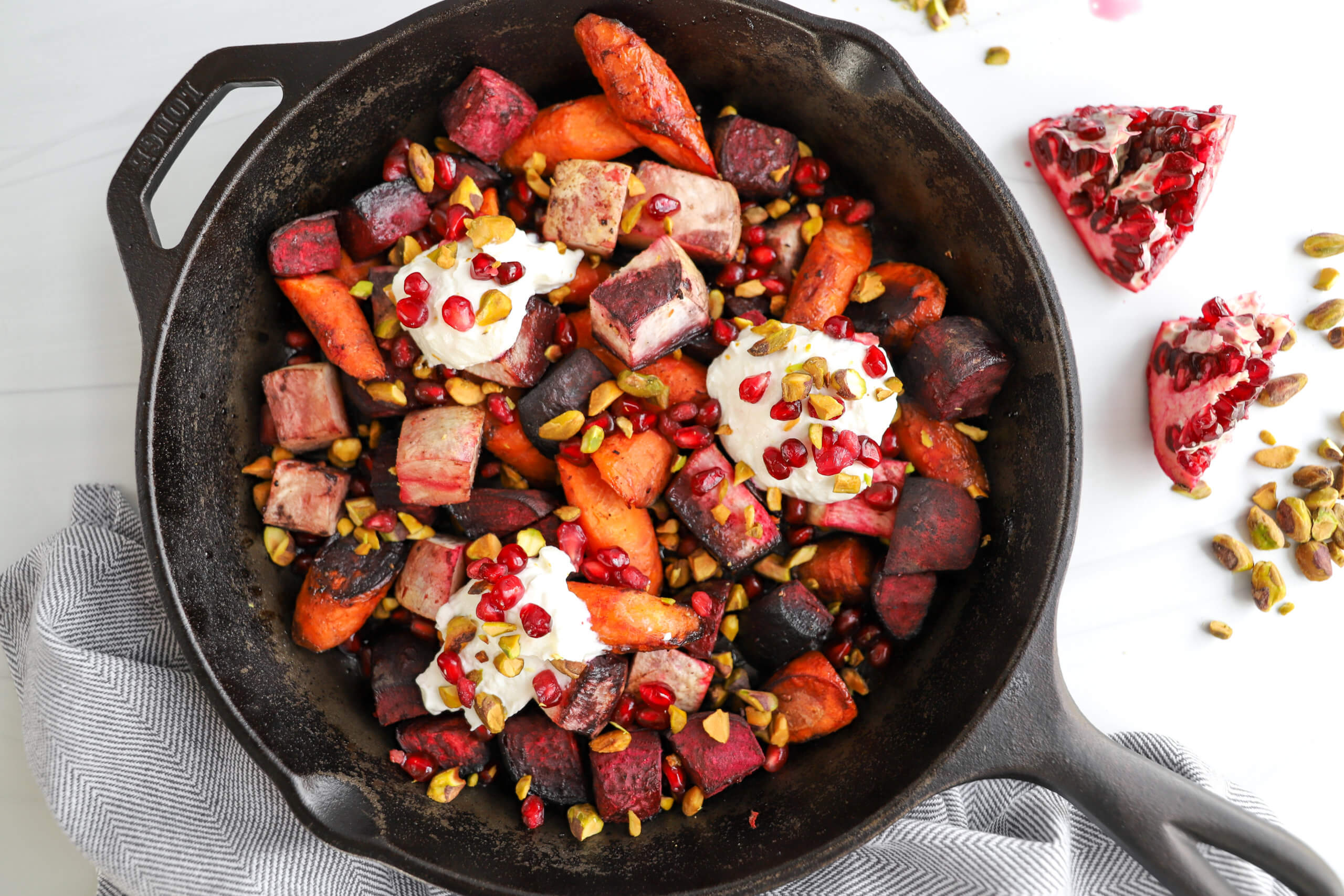 Pomegranate-Glazed Roasted Root Vegetables with Whipped Goat Cheese