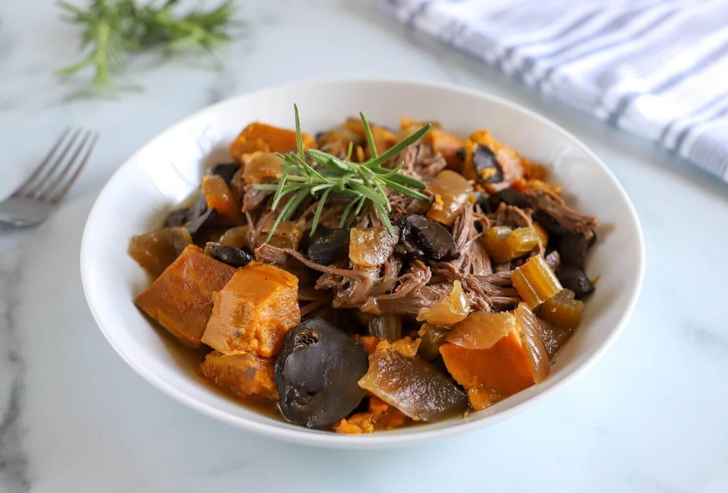 Slow Cooker Sweet Potatoes and Roast Beef