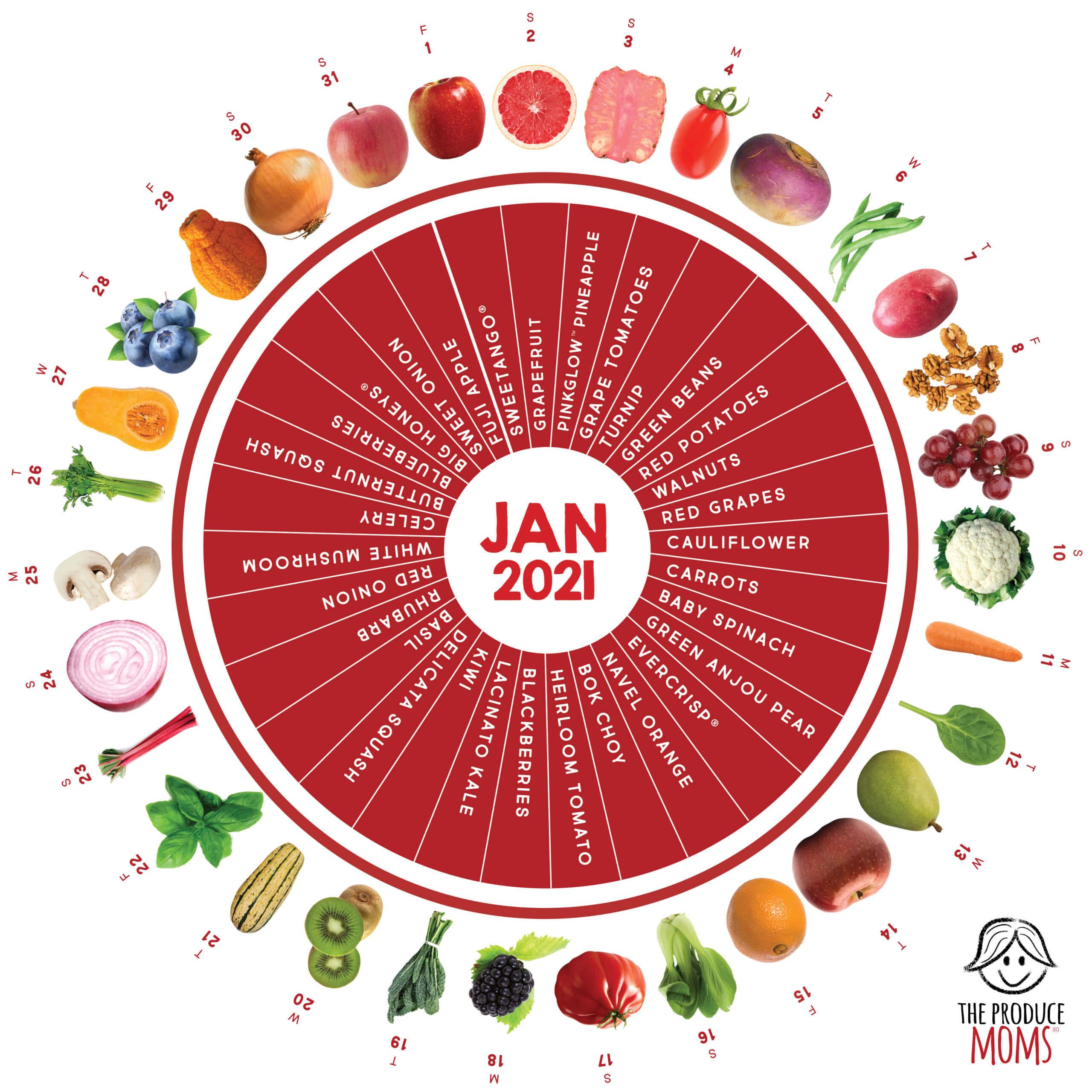 January 2021 Produce Challenge Calendar
