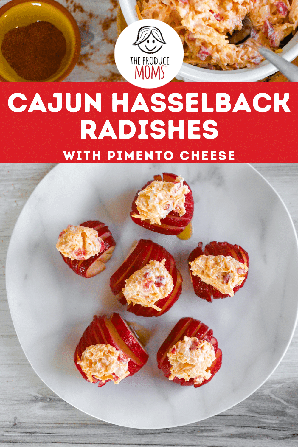 Cajun-Spiced Hasselback Radishes with Pimento Cheese