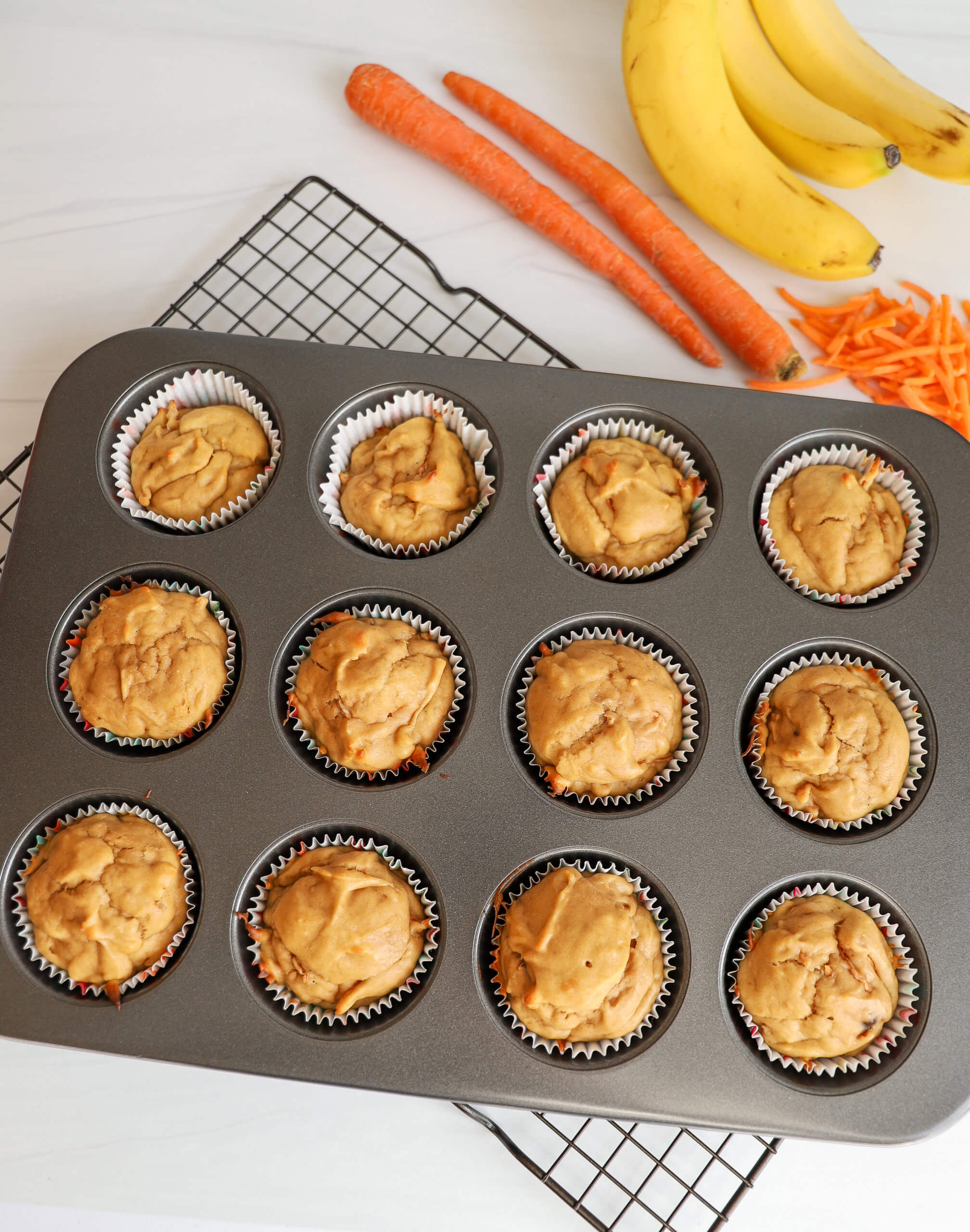 Making Peanut Butter and Banana Pupcakes