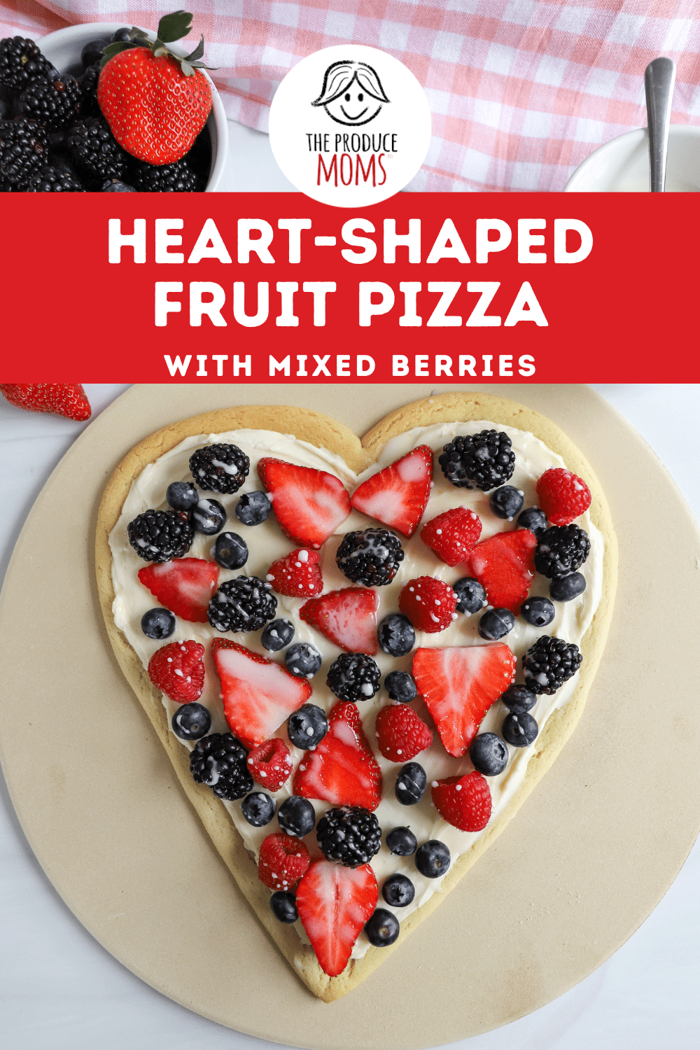 Heart-Shaped Fruit Pizza with Mixed Berries