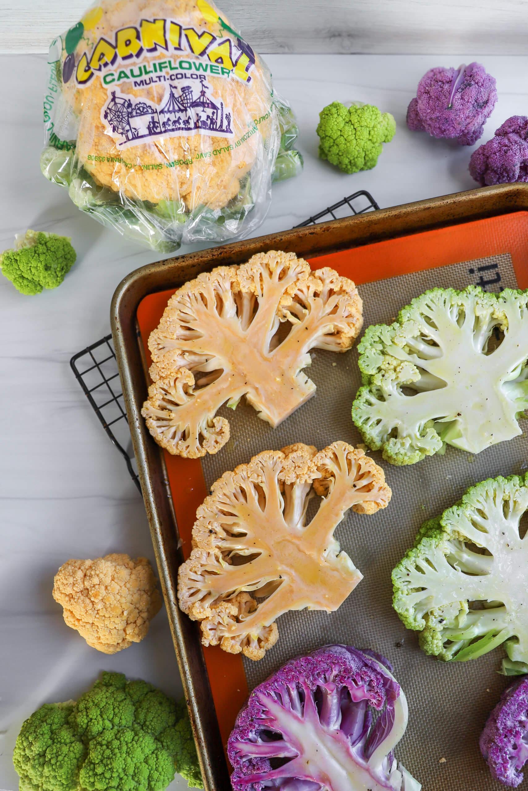 Roasted Multi-Color Cauliflower Steaks