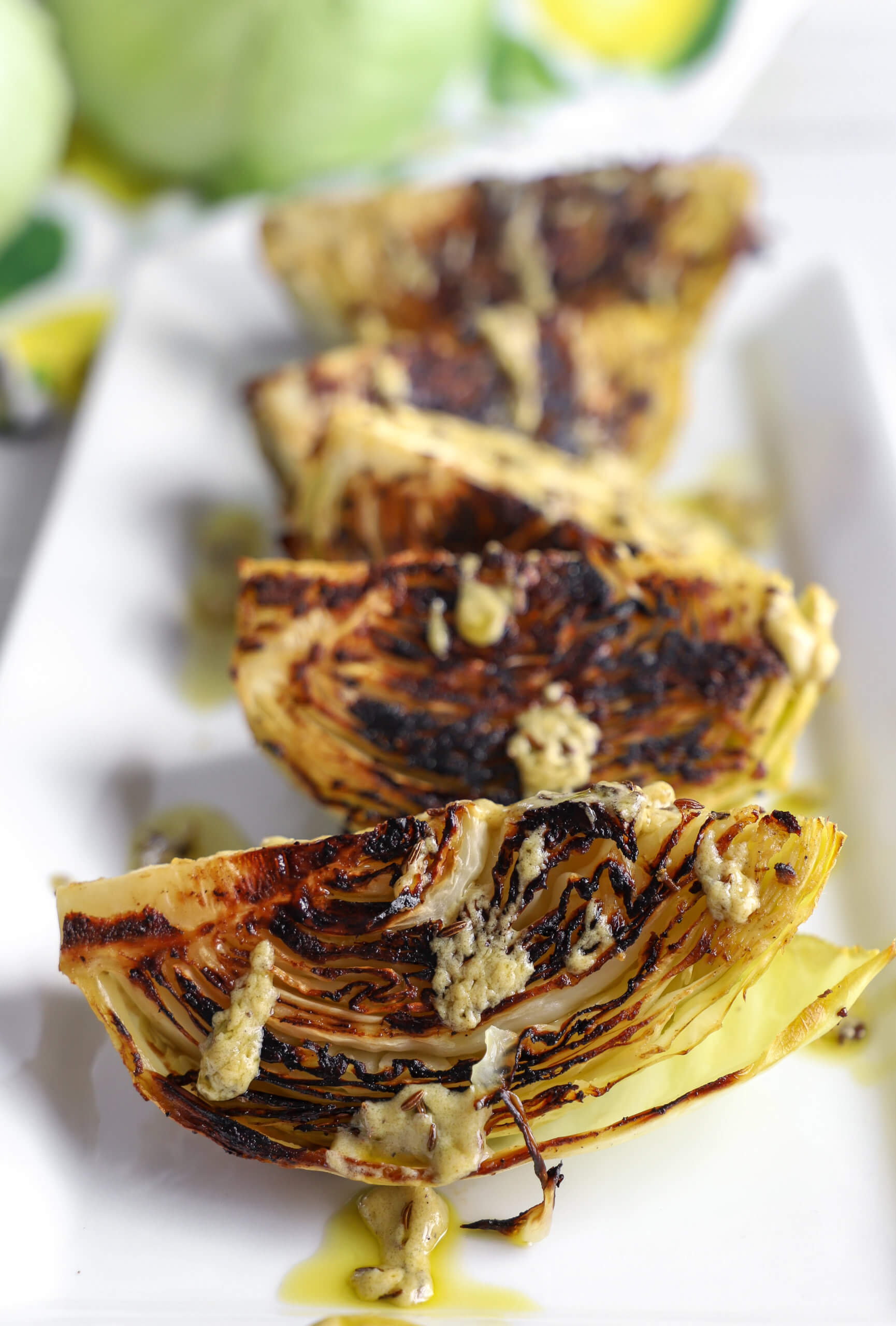 Dijon Roasted Cabbage Wedges with Caraway Seeds