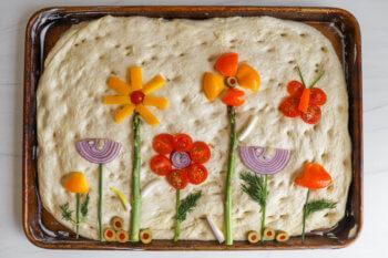 Focaccia Bread Art: Flower Garden